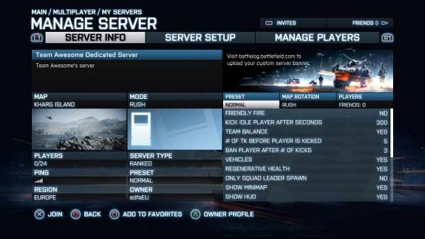 Rent Battlefield 3 Servers from your PS 3 or Xbox 360