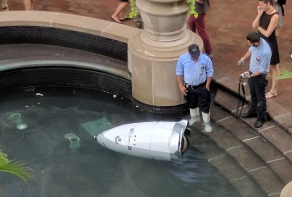a robot drowning