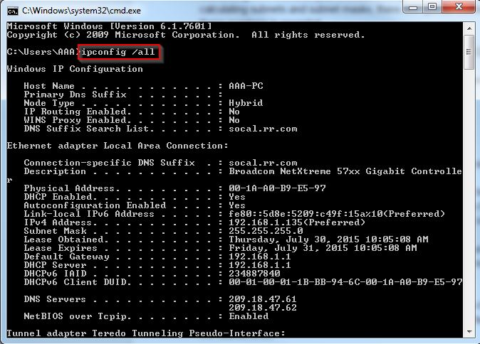 How To Locate Subnet Masks IP Address Gateway And DNS
