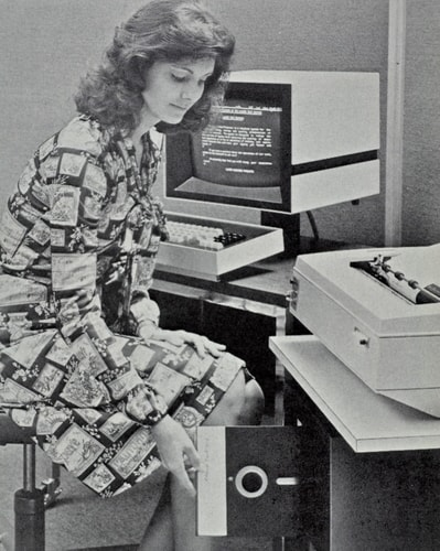 woman with a floppy disk