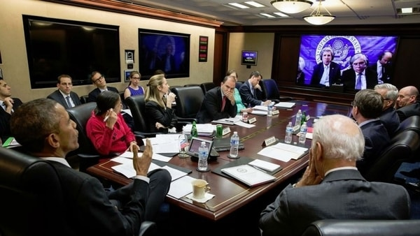 obama at a cyber-security meeting