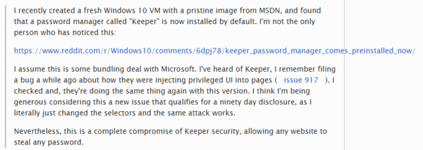 password stealing bug in windows keeper