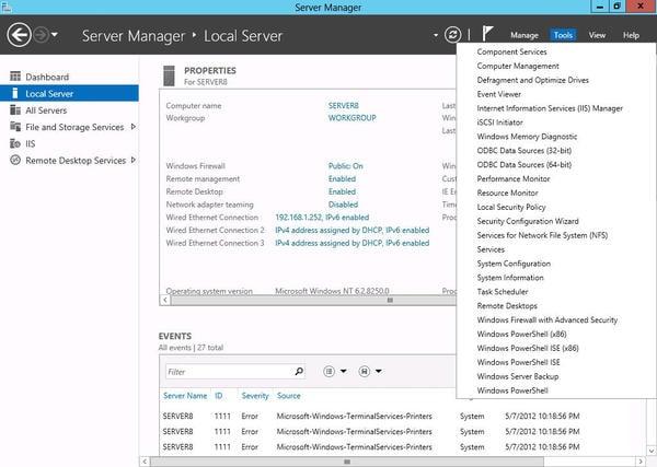 how to keep windows server 2012 minimum disk