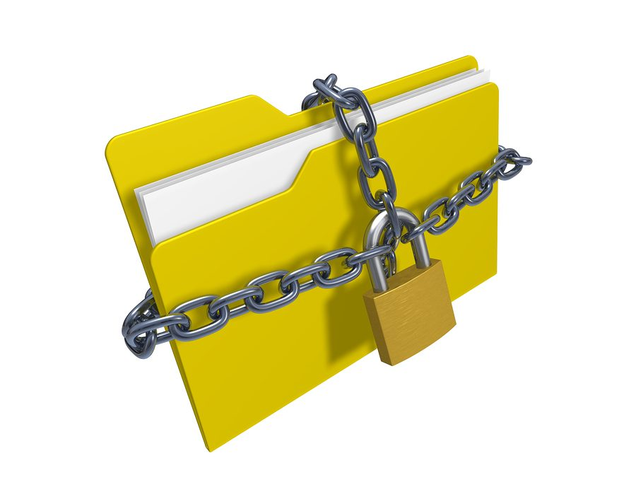 folder with lock and chain
