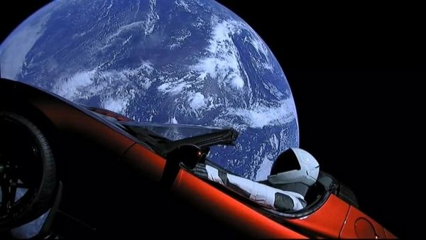 spacex launches tesla into space