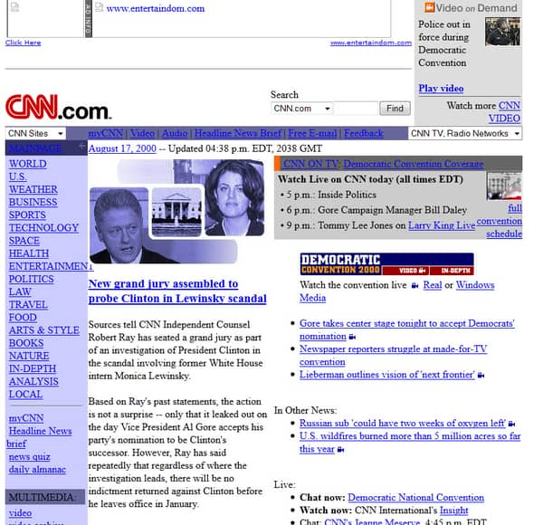 old cnn web page